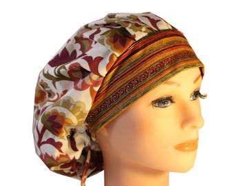 Scrub Cap Surgical Hat Chef   Dentist Hat Tie Back Bouffant Rust Green Orange  Floral Glitter Band 2nd Item Ships FREE