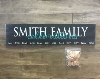 Family Celebrations sign - Birthday board with last name - personlaized