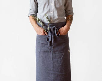 Dark Grey Stone Washed Linen Garcon Apron