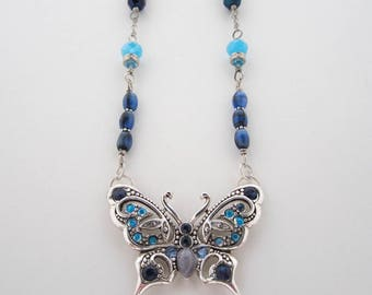 Blue Butterfly Necklace, Silver Butterfly Necklace, Vintage Style Necklace