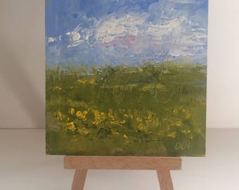 """Original oil painting on gesso board panel, 4""""x 4"""", """"The Meadow"""" by Debi Hinshaw"""
