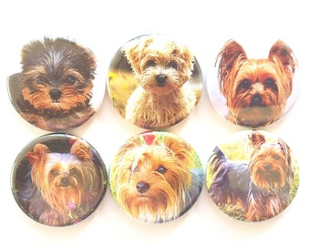 Yorkie Dog Magnets, Yorkshire Terriers, Refrigerator Magnets, Yorkie Dog Lover Gift, Yorkie Gift, Fridge Magnets, Cute Yorkie Dogs, 6/Set