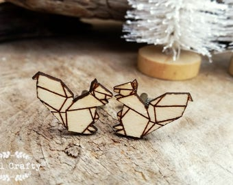 Squirrel Wooden Cufflinks Geometric Origami squirrel Dad Grooms Best man Groomsman Rustic Wedding Birthday Gift Cuff links