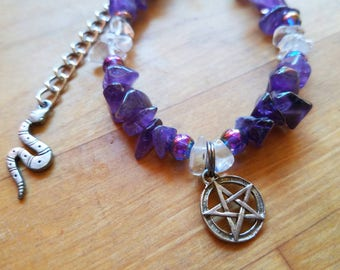 Amethyst and quartz charm bracelet