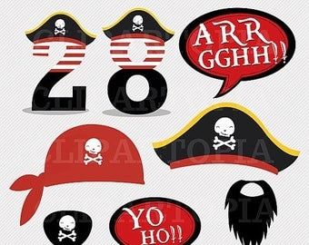 50% OFF SALE DIY Pirate Party Printables / Pirate Photo Booth Props for Personal and Commercial Use