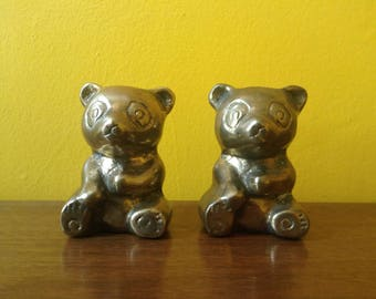 Pair of Brass Panda Bears