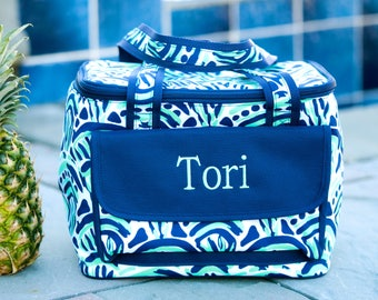Blue Waves Cooler Bag / Pink / Green / Personalized Cooler Tote / Insulated Beach Tote