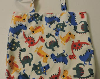 CHILDREN'S TOTES, DINOSAURS, cotton, beach bag, book bag, toy bag, overnight travel bag, canvas lining,