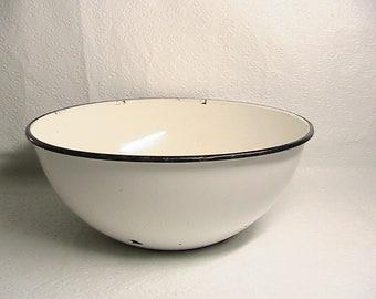 Enamelware Bowl, Extra Large Round Enamelware Bowl, White and Black