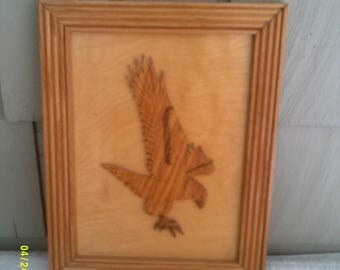 Vintage Hand Crafted Wooden Eagle Picture, Eagle Wall Decor, Wooden Wall Picture, Jigsaw Wood Art