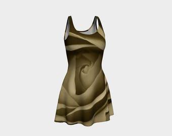 Rose Flare Dress, Skater Dress, Teen Clothing, Rose dress, Reversible dress, Floral Flare Dress, Sepia Skater Dress, Spandex Mini Dress