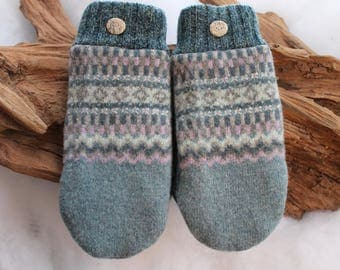 Wool sweater mittens lined with fleece with Lake Superior rock buttons in blue, blue-green, taupe, pinkish purple, Christmas, coworker gift