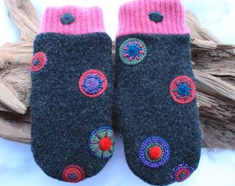 Wool sweater mittens lined with fleece with Lake Superior rock buttons in gray, pink, purple, green, red and blue, Valentines, coworker gift