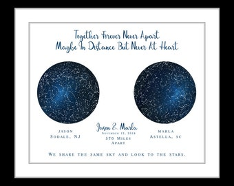 Long distance gift, for boyfriend girlfriend, personalized star maps, anniversary gift, wedding, military couple, deployment love present