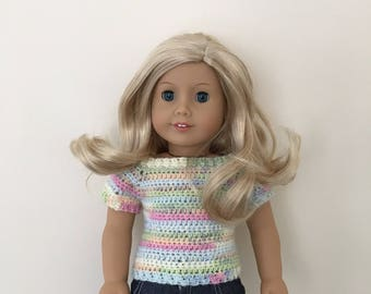 "18 inch doll sweater! Lovely soft multicoloured yarn. Fits 18""dolls such as American Girl"