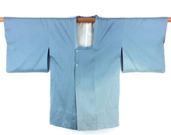Vintage Kimono Jacket Michiyuki Japanese Pale Blue Silk Haori Kimono Gift for Her