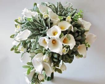 White calla lily wedding bouquet Keepsake succulent bouquet Cascading bridal bouquet Teardrop bouquet White calla lily bridal bouquet