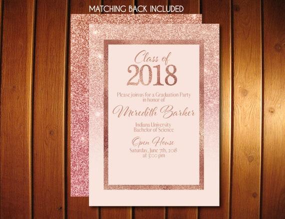 Rose gold graduation invitations glitter graduation announcement il570xn filmwisefo