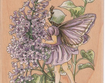 Cecily Mary Barker Lilac Flower Fairy Rubber Mounted Stamp 80195 Unused