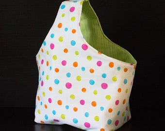 Bag reversible snack, polka dots and stripes patterns