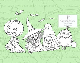 PNG Digi Stamp - Trick or Treat Kids - Pumpkin Head Witch Ghost Bats - Halloween Line Art for Cards & Crafts by Mitzi Sato-Wiuff