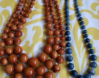 Brown and Blue Beads Necklaces