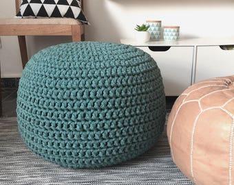 Teal Pouf-Ottoman Chair-Footstool-Pouf Ottoman-Glider Foot Pouf-Nursery Ottoman Pillow-Crochet Floor Pouf-Floor Cushion-Knit Floor Pillow