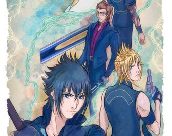 Noctis, Ignis, Gladiolus, Prompto and Lunafreya from Final Fantasy XV Poster