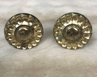 2 x Vintage round handles in gold