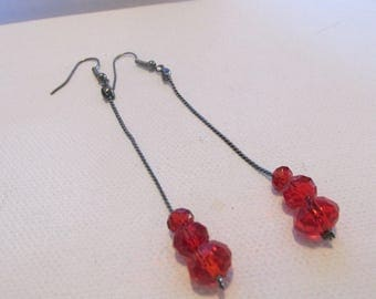 Vintage Earrings, Red Crystals, Three Inches, Three Red Crystals, Collectible Jewelry