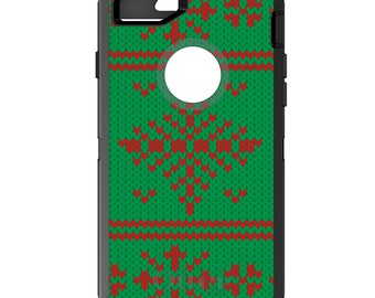 Custom OtterBox Defender Case for Apple iPhone 6 6S 7 8 PLUS X 10 - Monogram - Green Red Ugly Christmas Sweater - Gift for Mom