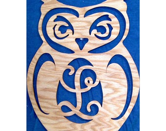 Owl Monogram, Owl Decor, Owl Gift Idea, Wooden Letters, Scroll Saw Sign, Unique Wall Decor, Home Decor, Keepsake Gift, Cabin Decor, Wildlife