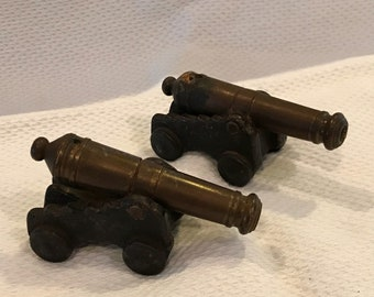Two Vintage Miniature Replica 19th Century Cannons Cast Iron Brass MFCO 1/0