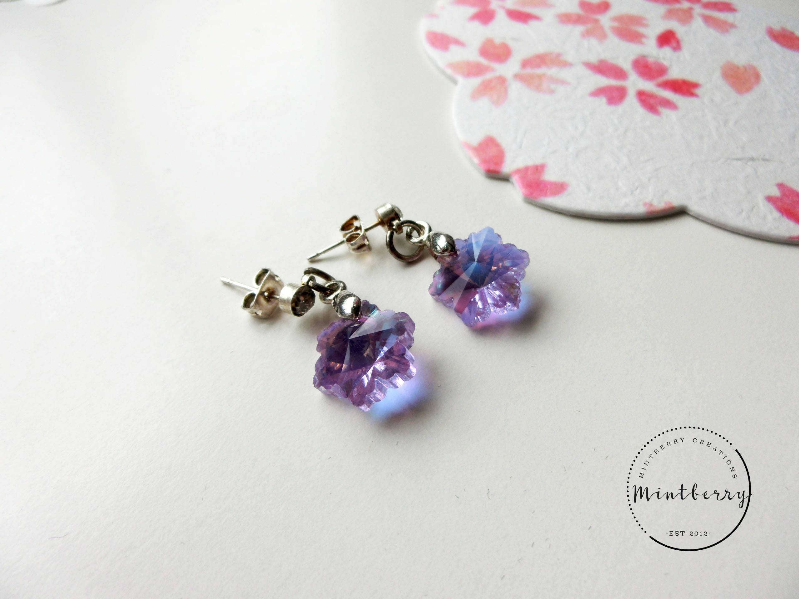 flower purple spring earrings next porcelain clay flowers air lilac cold p product jewelry previous accessories dry