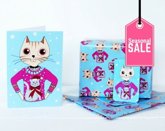 Christmas gift wrapping set - cat in Christmas sweater - Crazy Cat Lady gift - cat jumper greetings card - fun wrapping paper