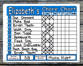 Chore Chart Shipped works like Dry Erase Board, Set Chores, Behaviors, Goals, & Rewards