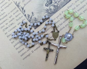 2pcs French vintage religious rosary religious medals  white beads gothic crucifix  bronze crucifix