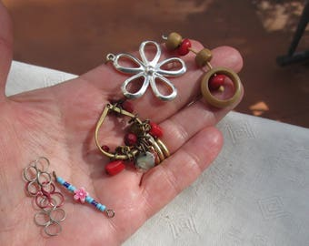 Lot Of Retro Salvaged  Flower Pendants Beaded Dangles