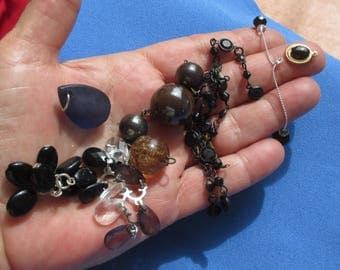 Lot Of Retro Salvaged Black Brown Beaded Dangles Pendants