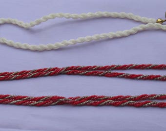 Lot Of Retro Twisted Seed Bead Long Necklaces One Needs Clasp & Clasp Ring Repair Repurpose