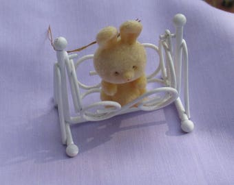 Retro Flocked  Bunny In Movable Swing Easter Ornament Decoration