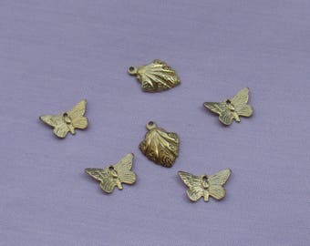 Lot Of Salvaged Butterfly & Leaf Shaped Metal Charms