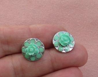 Mint Colored Flower Shaped Pierced Earrings TLC