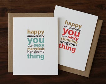 Anniversary Card for Husband, Wife, Partner, Boyfriend, Girlfriend - Handsome or Gorgeous - For Him - For Her - 030+029