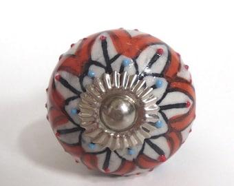 Porcelain Drawer Pull,  Cabinet Knob, Cabinet Pull, Boho, Indie,  Furniture Hardware, Refinish Parts, Blue and  Orange Flower Design, L3
