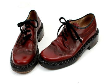 Vintage Kings Of LOYD Shoes / Burgundy Shoes / Oxfords Shoes / Tie Shoes / leather Lace Up Shoes Mens / EU40 UK7 US7'5