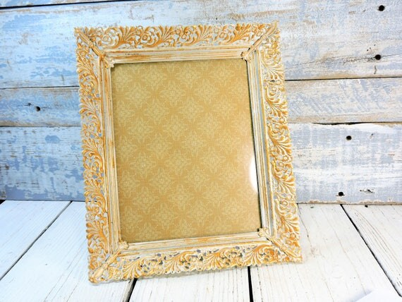 Picture Frame 8x10 Ornate Scroll Cut Out Vintage Style Metal Painted ...