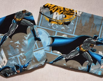 "Lingerie bag with zipper set 2pcs Batman 11x8x1,5 / 7x8x1,5""inch children boy travel bags blue yellow"