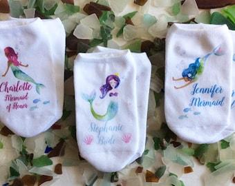 Mermaid Theme Bridal Party, Bridesmaid Gifts, Bridal Party, Wedding - Custom Printed Wedding Socks - White Socks Sold By the Pair