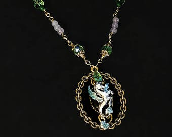 Renaissance necklace--Heraldic Pegasus with Czech glass in emerald green with jasper and rainbow moonstone